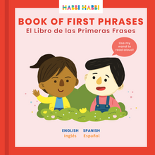 Load image into Gallery viewer, Spanish for children. Teach your kids basic Spanish phrases with our Book of First Phrases.