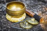 "4"" Ohm Mantra Tibetan Singing Bowl & Antique Tingsha Gift Set"