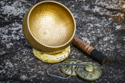 "5"" Hand Hammered Tibetan Singing Bowl & Antique Tingsha Gift Set"