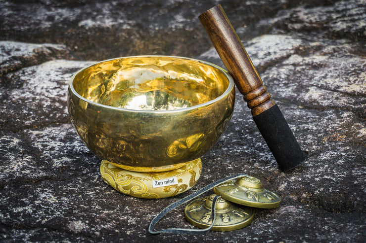 Antique Tibetan Singing Bowl & Tingsha Gift Set