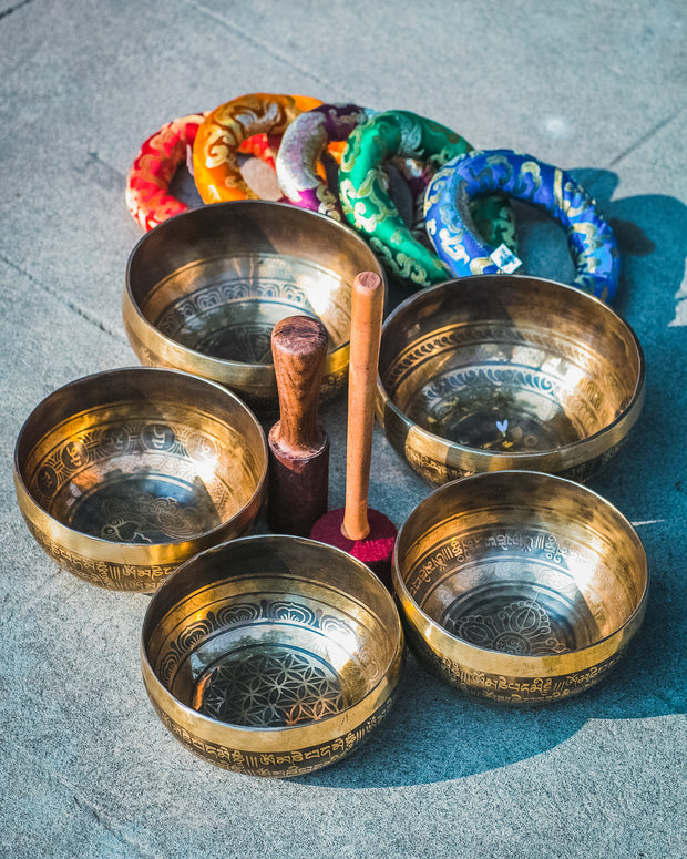 Mandala Inscribed Antique Handmade Tibetan Singing Bowl Set