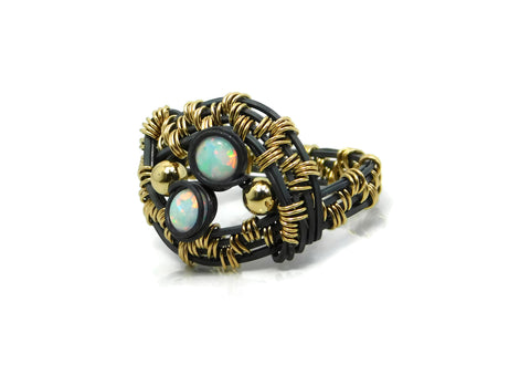Heather Rivera Cold Fusion Jewelry Oxidized Sterling Silver Ring with 14kt Gold Fill and Opals