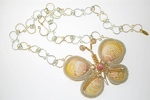 Butterfly necklace with real cockle shells, Herkimer diamonds and rhodochrosite hand wrapped in 14kt gold fill and Argentium sterling silver