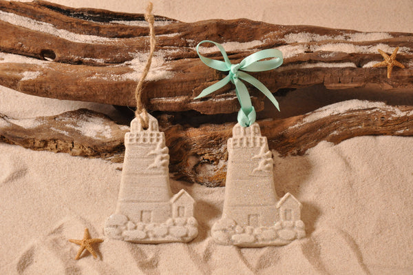 SAND ORNAMENT, CHRISTMAS TREE ORNAMENT, TROPICAL CHRISTMAS DECORATIONS, COASTAL ORNAMENT, SAND ORNAMENT, TROPICAL ORNAMENT, ARENOPHILE, SANTA, CHRISTMAS ORNAMENT, BEACH, LIGHTHOUSE