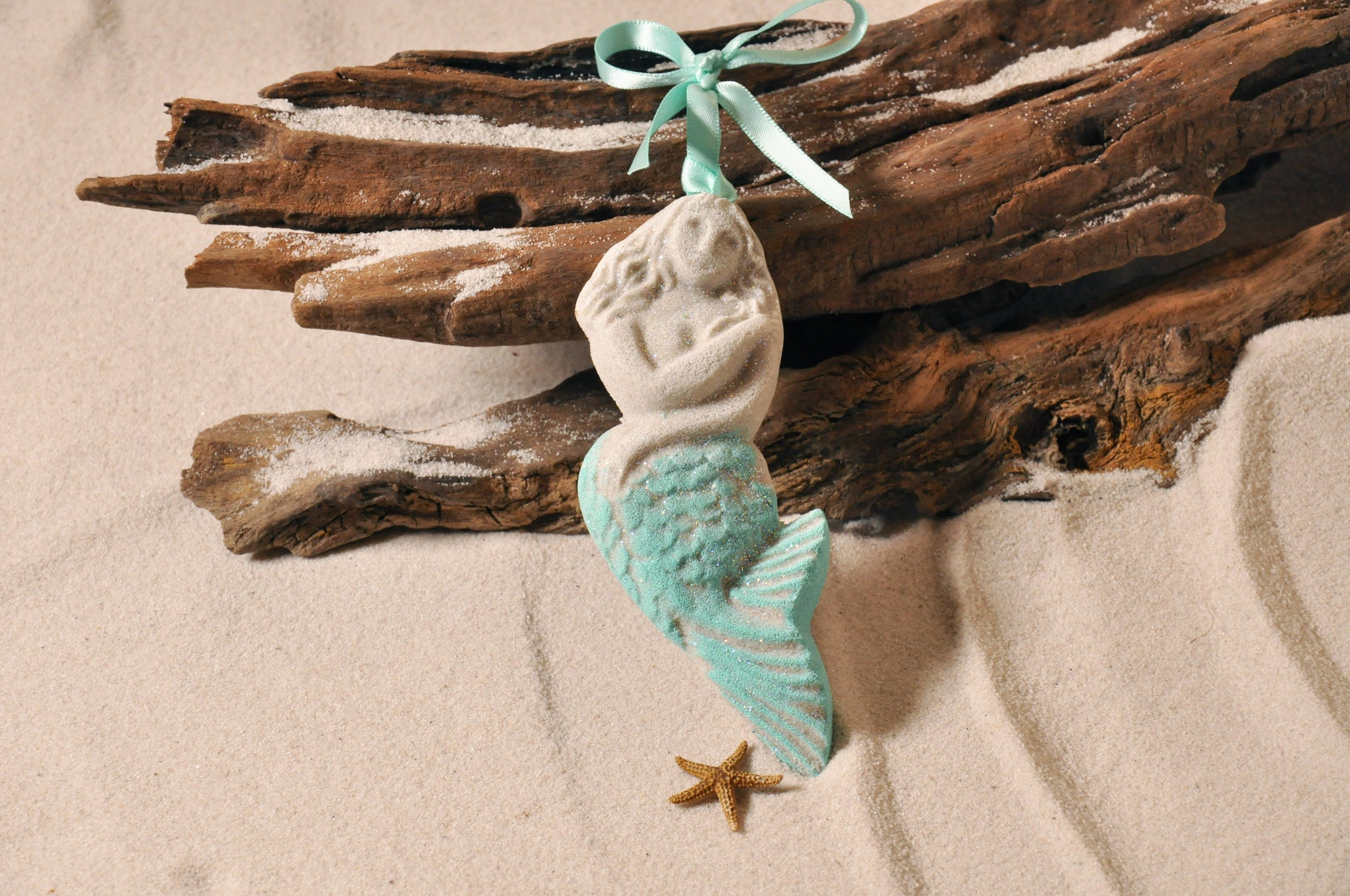 SAND ORNAMENT, CHRISTMAS TREE ORNAMENT, TROPICAL CHRISTMAS DECORATIONS, COASTAL ORNAMENT, SAND ORNAMENT, TROPICAL ORNAMENT, ARENOPHILE, SANTA, CHRISTMAS ORNAMENT, FLORIDA, MERMAID
