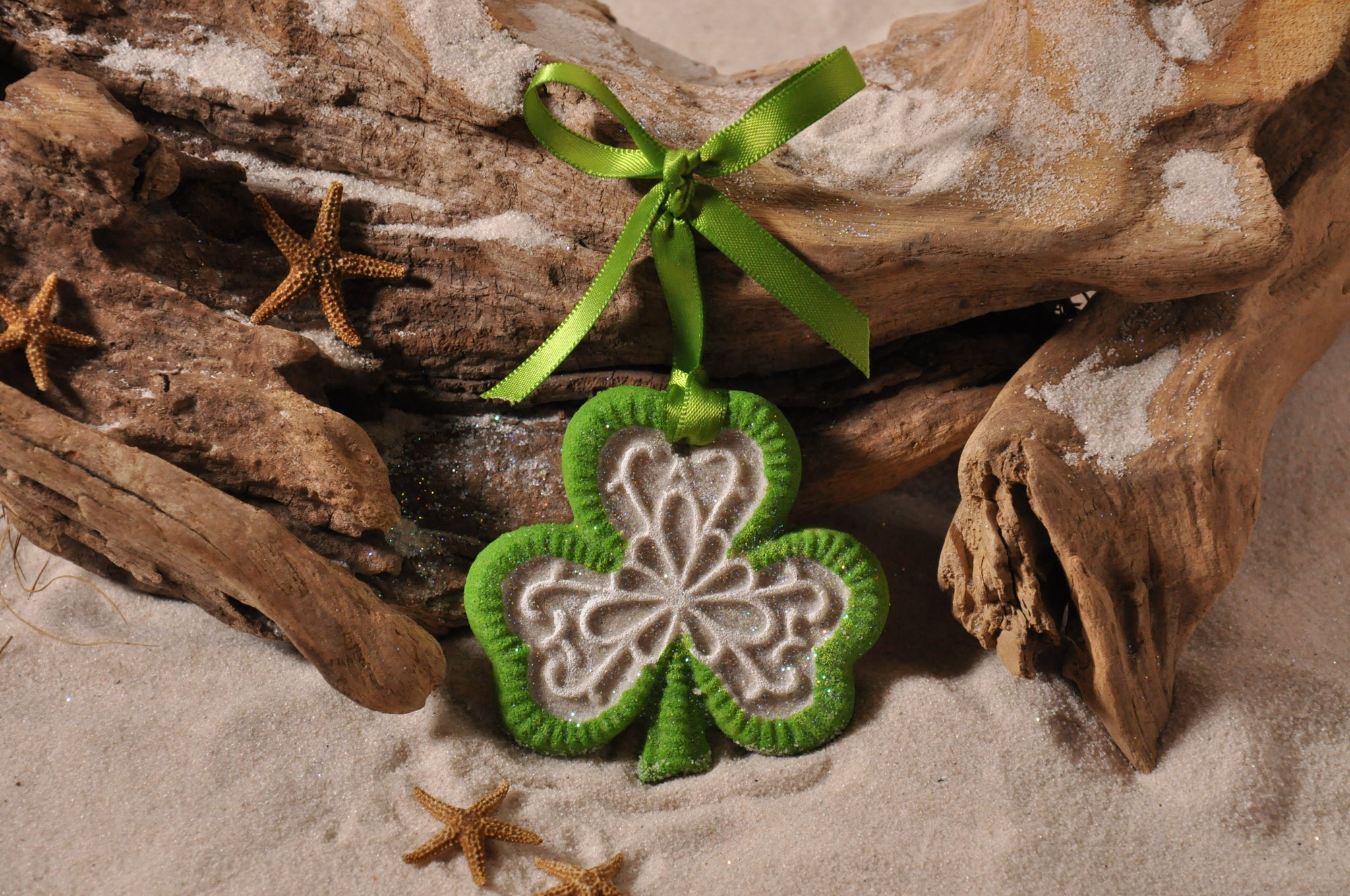 SAND ORNAMENT, CHRISTMAS TREE ORNAMENT, TROPICAL CHRISTMAS DECORATIONS, COASTAL ORNAMENT, SAND ORNAMENT, TROPICAL ORNAMENT, ARENOPHILE, ST PATRICK, IRISH
