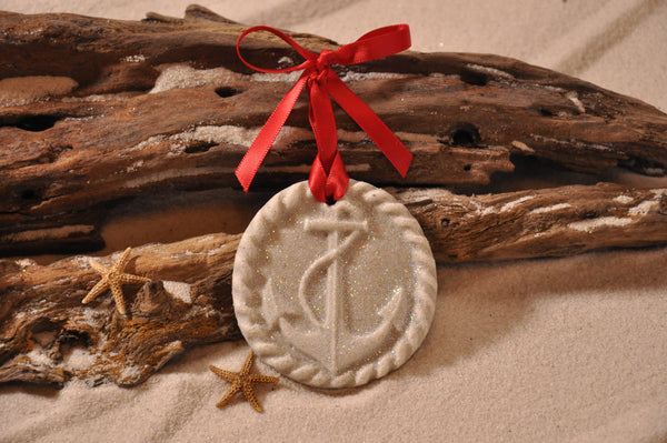 SAND ORNAMENT, CHRISTMAS TREE ORNAMENT, TROPICAL CHRISTMAS DECORATIONS, COASTAL ORNAMENT, SAND ORNAMENT, TROPICAL ORNAMENT, ARENOPHILE, SANTA, CHRISTMAS ORNAMENT, FLORIDA, ANCHOR