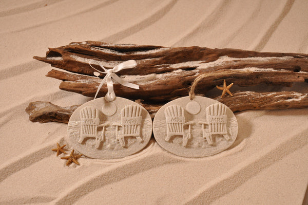 Mr & Mrs Beach Chair Sand Ornament