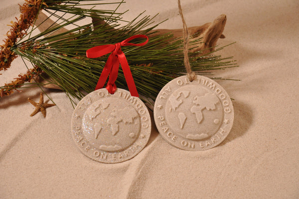 SAND ORNAMENT, CHRISTMAS TREE ORNAMENT, TROPICAL CHRISTMAS DECORATIONS, COASTAL ORNAMENT, SAND ORNAMENT, TROPICAL ORNAMENT, ARENOPHILE, SANTA, CHRISTMAS ORNAMENT, PEACE