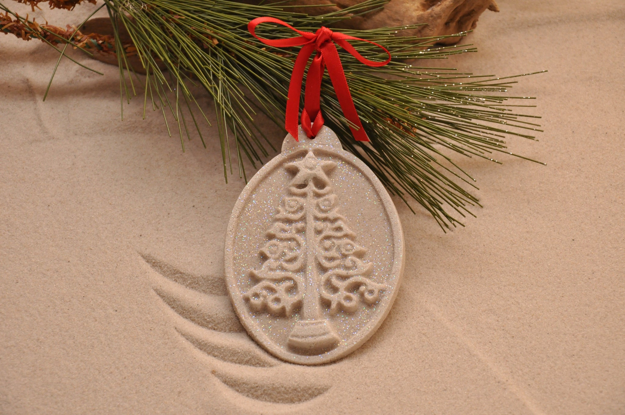 SAND ORNAMENT, CHRISTMAS TREE ORNAMENT, TROPICAL CHRISTMAS DECORATIONS, COASTAL ORNAMENT, SAND ORNAMENT, TROPICAL ORNAMENT, ARENOPHILE, SANTA, CHRISTMAS ORNAMENT, CHRISTMAS TREE