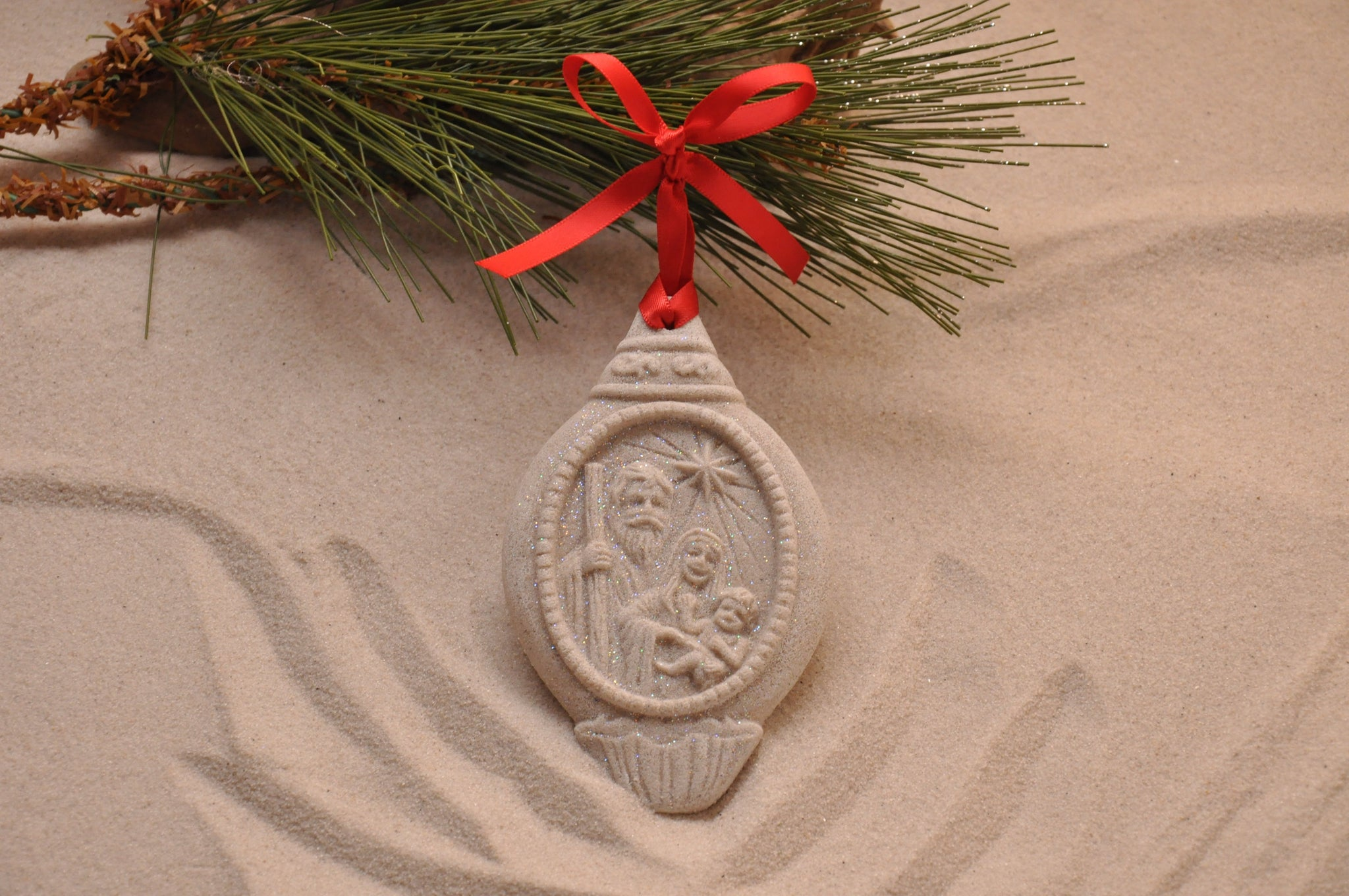 SAND ORNAMENT, CHRISTMAS TREE ORNAMENT, TROPICAL CHRISTMAS DECORATIONS, COASTAL ORNAMENT, SAND ORNAMENT, TROPICAL ORNAMENT, ARENOPHILE, SANTA, CHRISTMAS ORNAMENT, NATIVITY