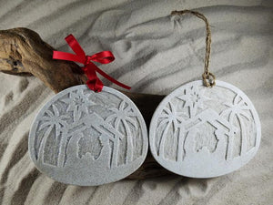 Nativity Silhouette under the Palms Sand Ornament