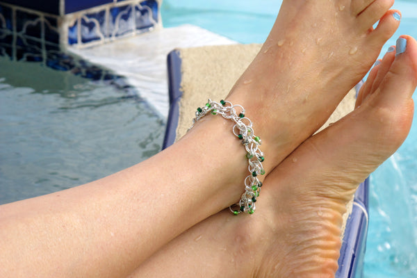 Chainmaille Mastering the Basics Beaded Shaggy Loop Ankle Bracelet