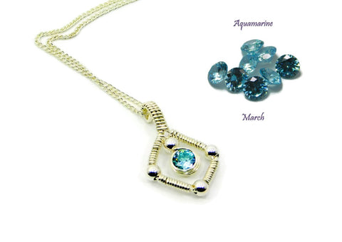 Vibrant Collection - Sterling Silver Single Gem Pendant