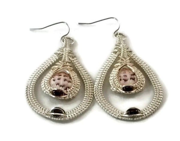 Argentium sterling silver double drop earrings with garnet