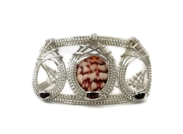 Argentium sterling silver mini shell drop cuff bracelet with garnet seashell bracelet ocean jewelry sanibel jewelry sanibel island jewelry captiva jewelry captiva island jewelry gold shell bracelet gold seashell bracelet island jewelry ocean inspired jewelry