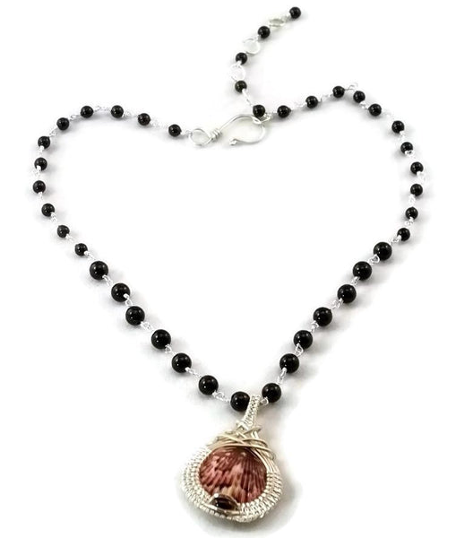 Argentium sterling silver mini shell drop necklace with garnet ocean jewelry sanibel jewelry sanibel island jewelry captiva jewelry captiva island jewelry island jewelry ocean inspired jewelry
