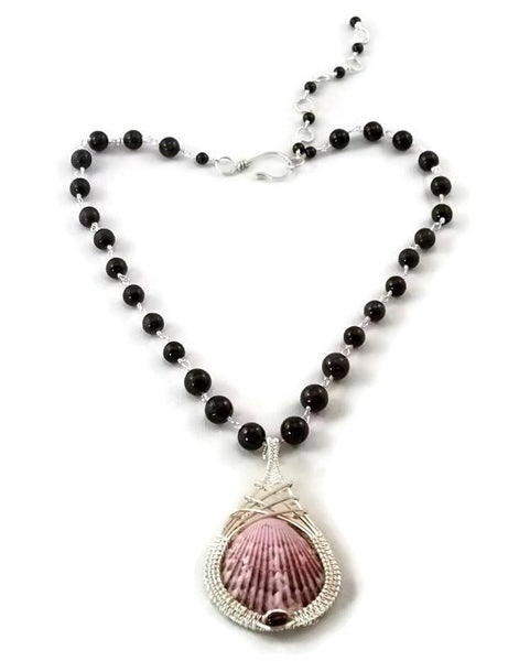 Argentium sterling silver shell drop necklace with garnet shell pendant shell necklace ocean jewelry ocean inspired jewelry captiva jewelry captiva island jewelry sanibel jewelry sanibel island jewelry island jewelry