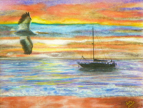 Bay Pelican Sunrise Giclee