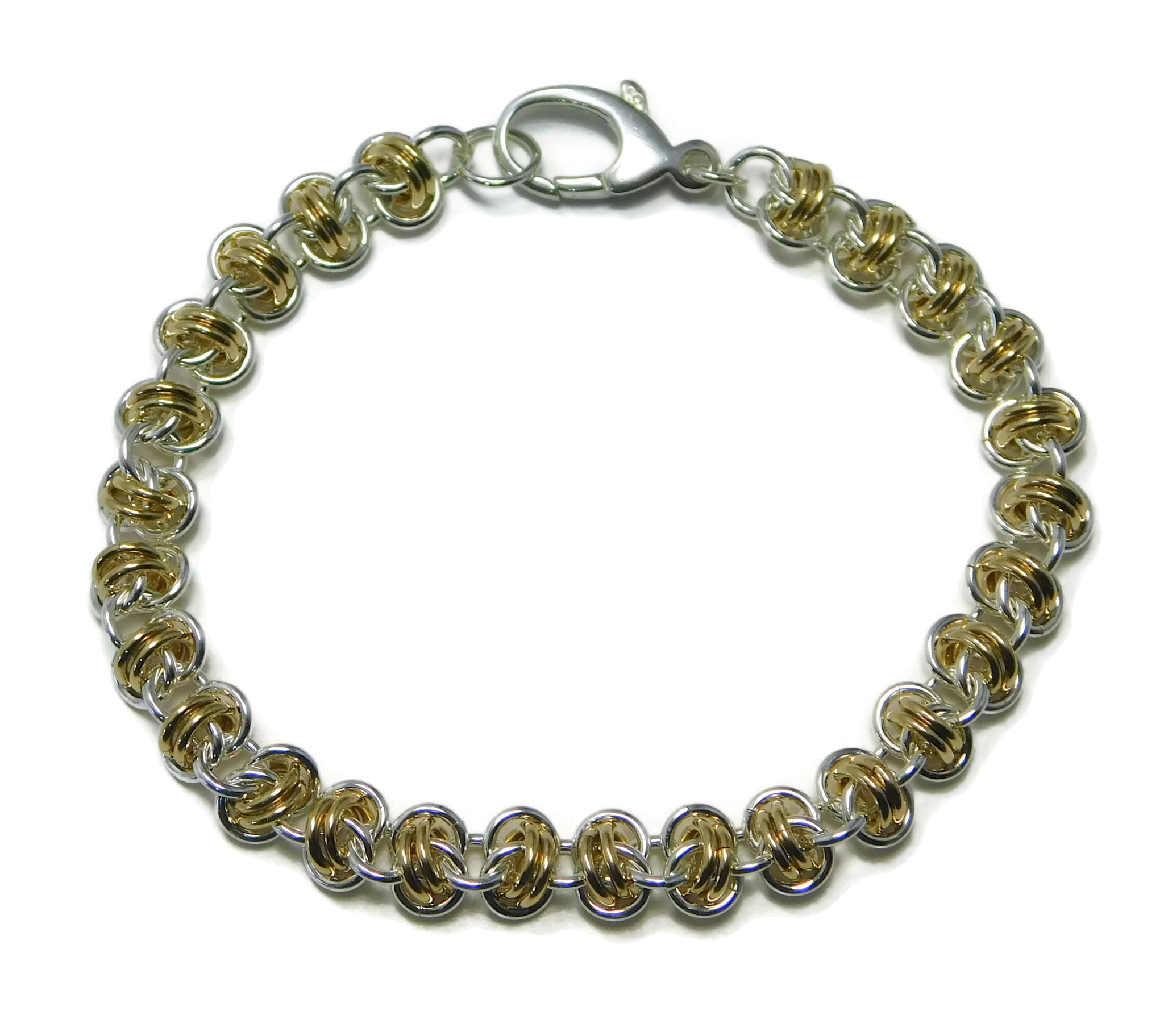 Sterling Silver and 14kt Gold Fill Barrel Weave Chainmaille Bracelet