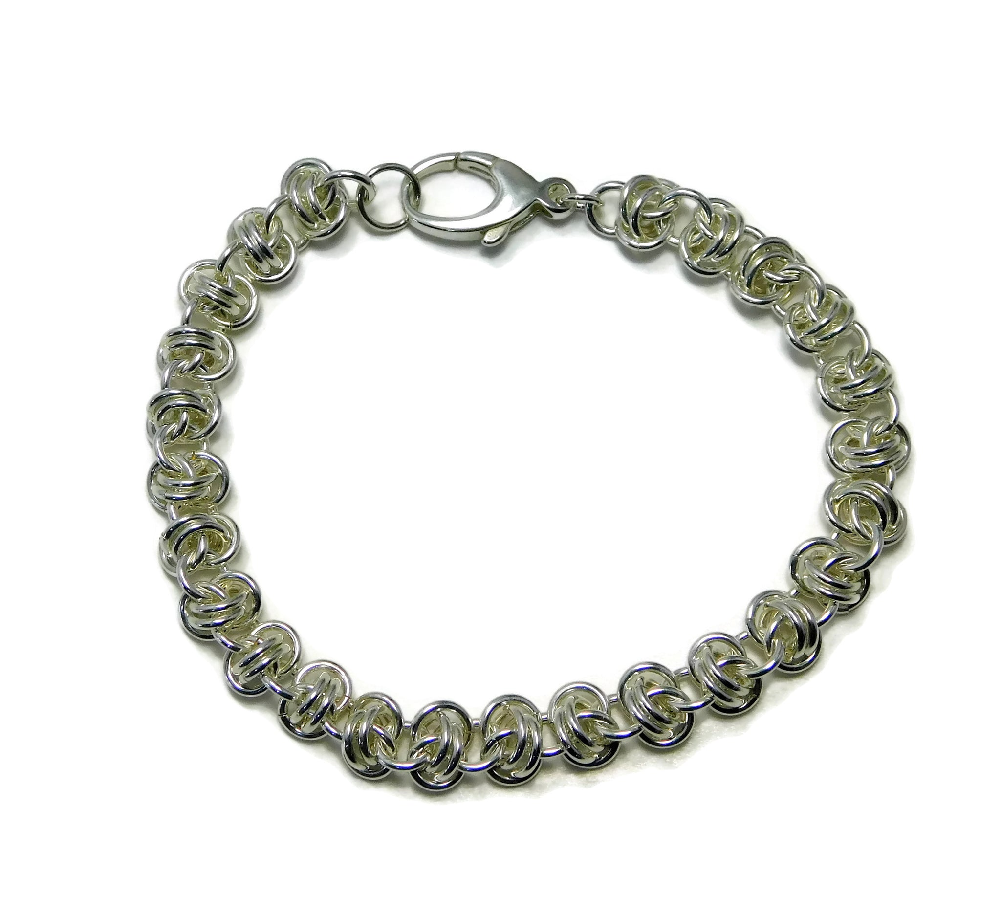Sterling Silver Barrel Weave Chainmaille Bracelet