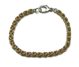 Sterling Silver and 14kt Gold Fill Rosetta Weave Chainmaille Bracelet