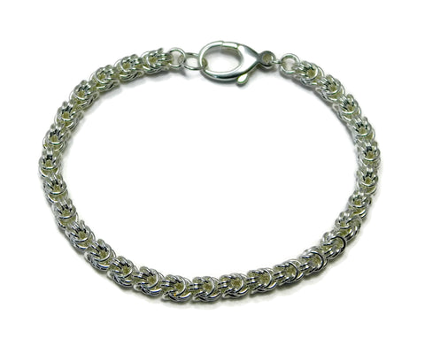 Sterling Silver Rosetta Weave Chainmaille Bracelet