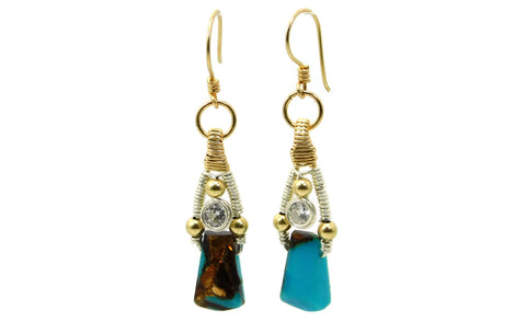 Turquoise & Bronzite Bliss Earrings with Herkimer Diamonds in 14kt gold fill and sterling silver