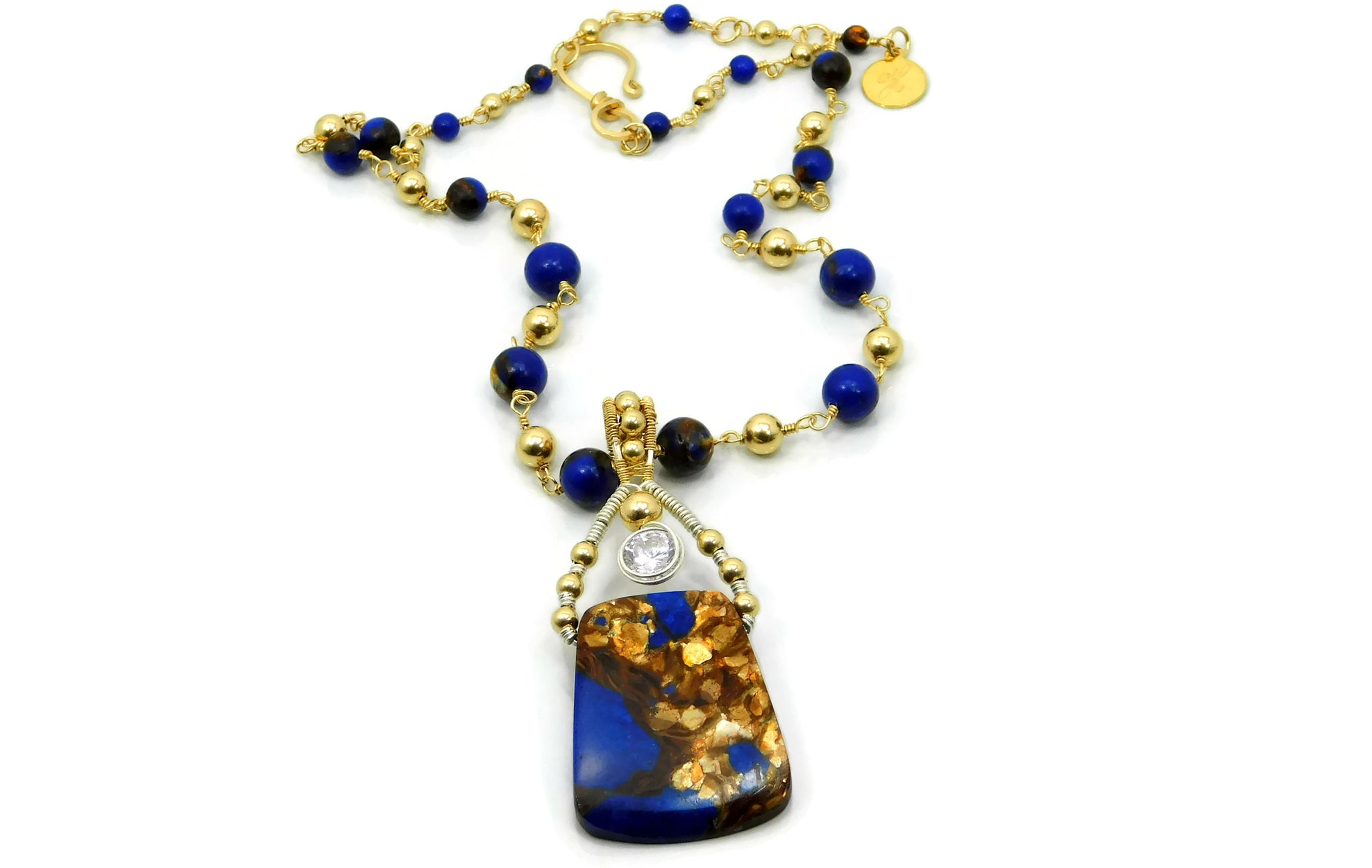 Lapis & Bronzite Bliss Trapezoid Pendant with Herkimer Diamonds in 14kt gold fill and sterling silver