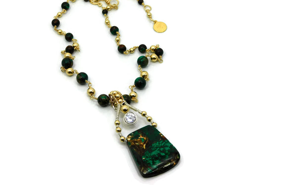 Malachite & Bronzite Bliss Trapezoid Pendant with Herkimer Diamonds in 14kt gold fill and sterling silver wire necklace cold fusion jewelry gold and silver jewelry handmade silver jewelry sterling silver jewelry artisan jewelry handmade gemstone jewelry one of a kind jewelry unique jewelry