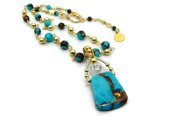 Turquoise & Bronzite Bliss Trapezoid Pendant with Herkimer Diamonds in 14kt gold fill and sterling silver