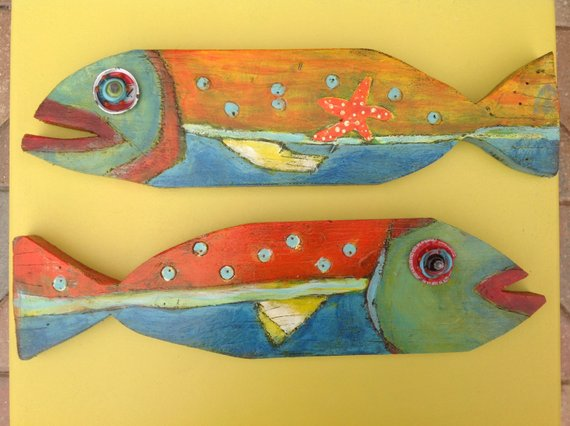 Painted wooden fish fish art wooden fish Blue Gills
