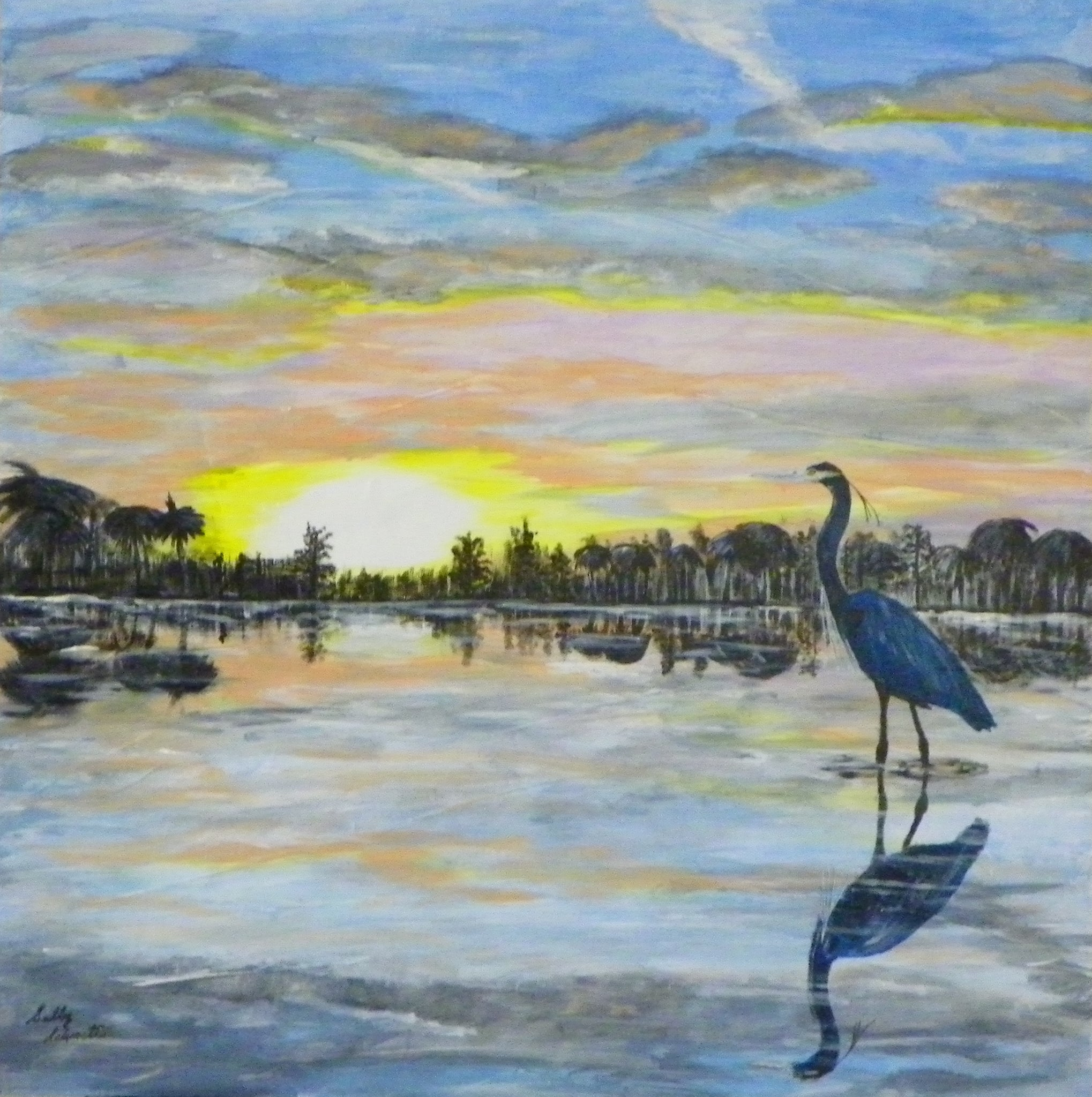Calm Sunrise (blue heron)