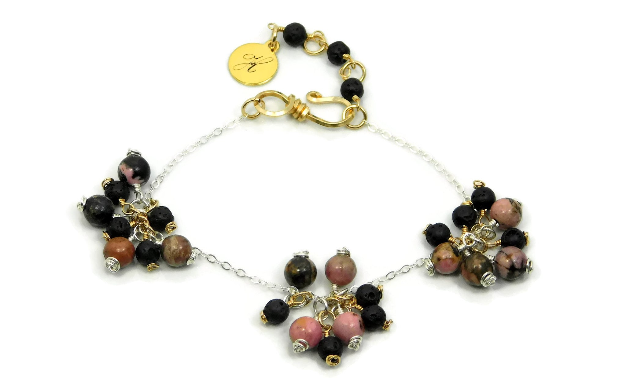 Cluster Bracelet Rhodonite Black Matrix and Lava Stone sterling silver and 14kt gold fill