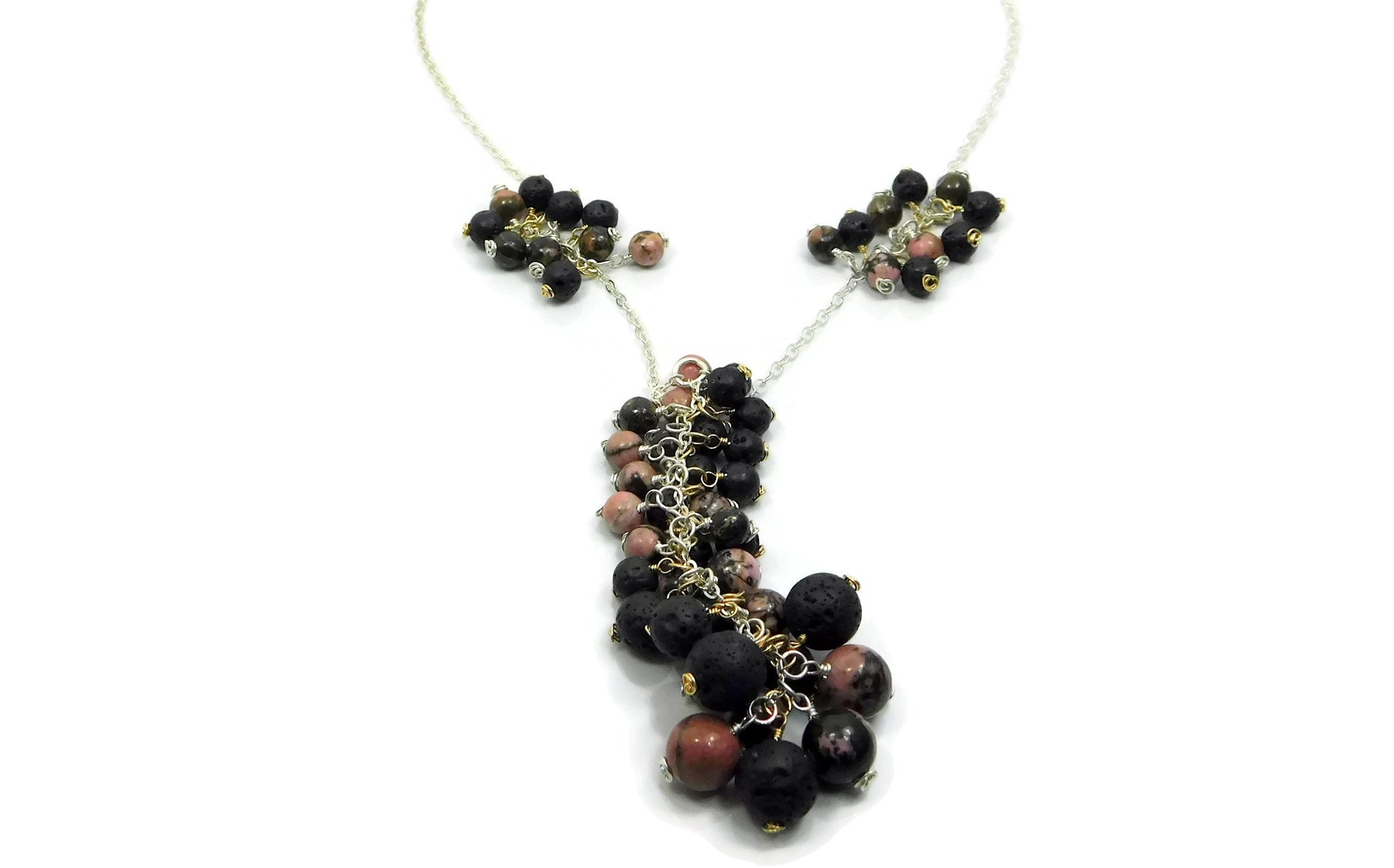 Rhodonite and Lava Stone Necklace in sterling silver and 14kt gold fill cold fusion jewelry gold and silver jewelry handmade silver jewelry sterling silver jewelry artisan jewelry handmade gemstone jewelry one of a kind jewelry unique jewelry