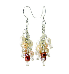 Wire Wrapped Cluster Earrings with Swarovski Crystals and Freshwater Pearls
