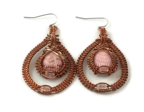 oxidized raw copper double drop earrings with rose quartz ocean jewelry sanibel jewelry sanibel island jewelry captiva jewelry captiva island jewelry island jewelry ocean inspired jewelry copper jewelry