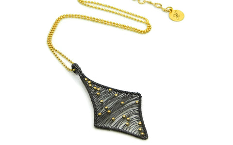 Hand wrapped cold fusion oxidized sterling silver, 14kt gold fill pendant