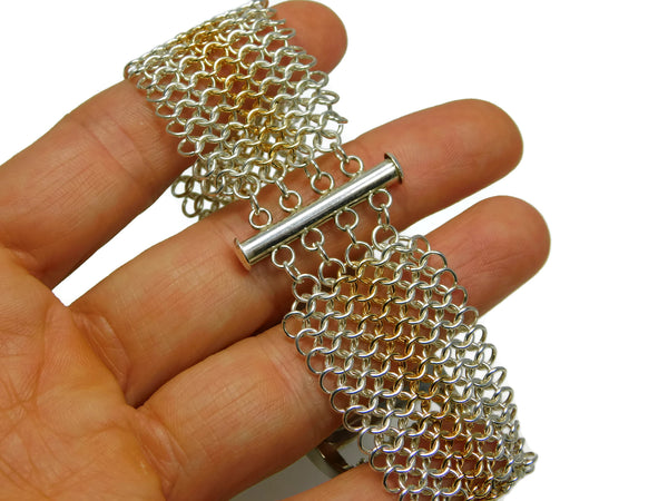 European 4 in 1 chainmaille slide lock clasp chainmaille bracelet chainmail jewelry chainmaille geometric jewelry geometric bracelet european 4 in 1 chainmail bracelet gold chainmail gold chainmaille