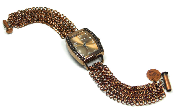 Antiqued Copper European 4 in 1 Chainmaille Watch chainmaille bracelet chainmail jewelry chainmaille geometric jewelry geometric bracelet european 4 in 1 chainmail bracelet copper chainmail copper chainmaille copper jewelry