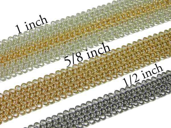 European 4 in 1 chainmaille bracelet widths