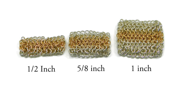 European 4 in 1 chainmaille ring widths chainmaille ring chainmail jewelry chainmaille geometric jewelry geometric ring european 4 in 1 chainmail ring gold chainmail gold chainmaille