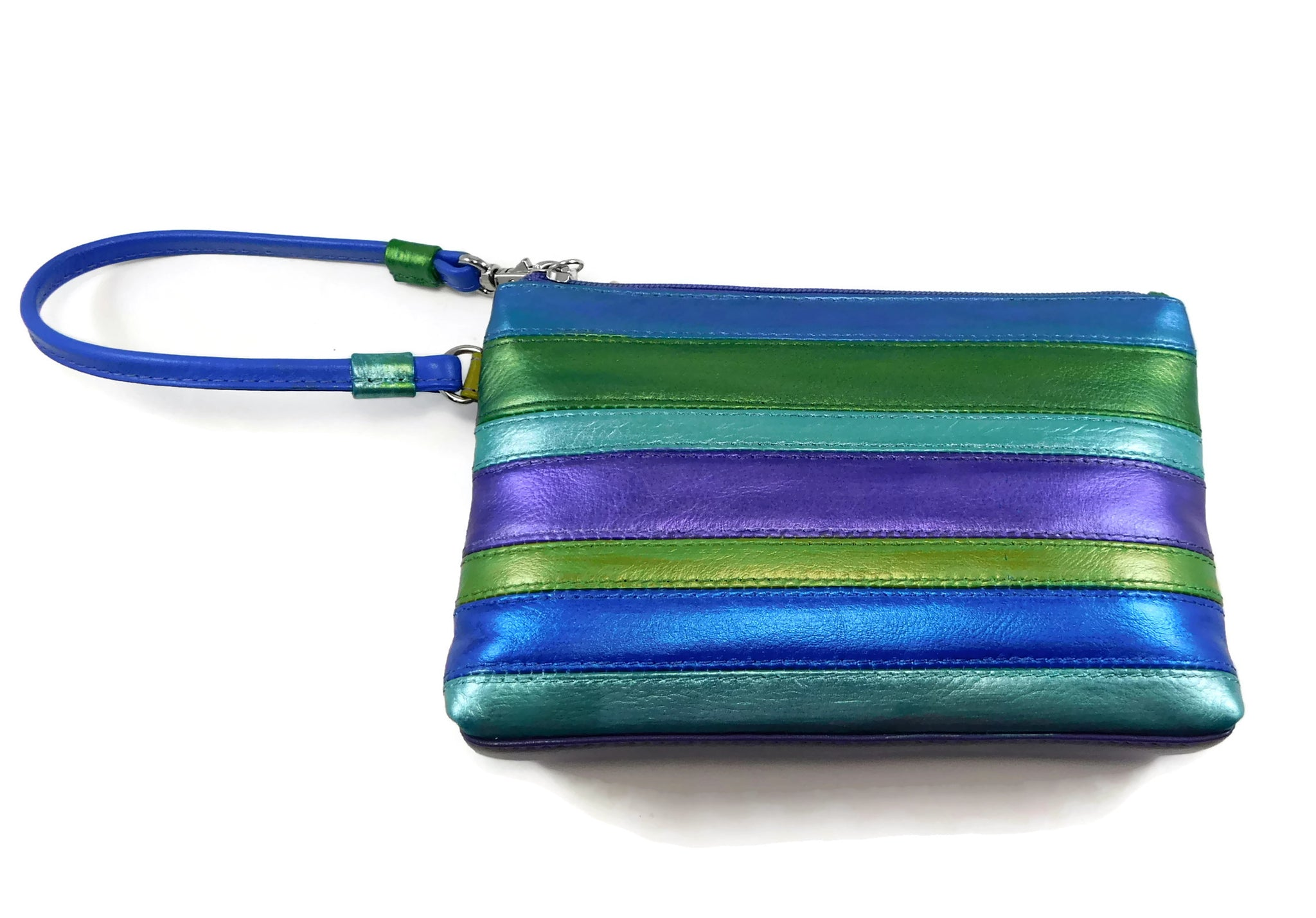 Handpainted leather lagoon shimmer wristlet