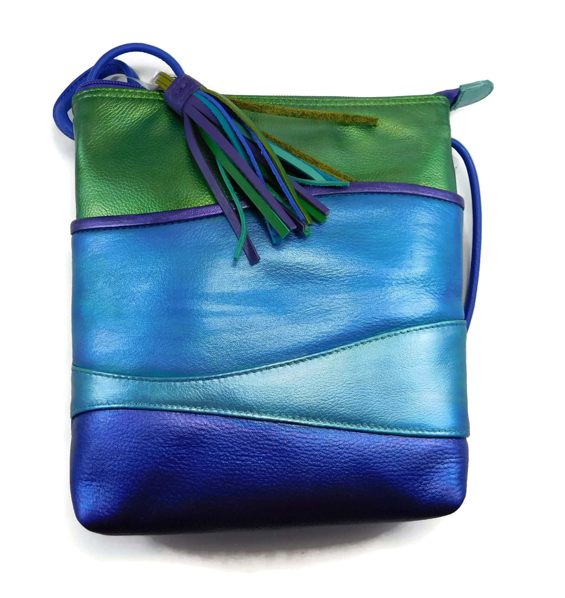 Handpainted leather lagoon shimmer purse