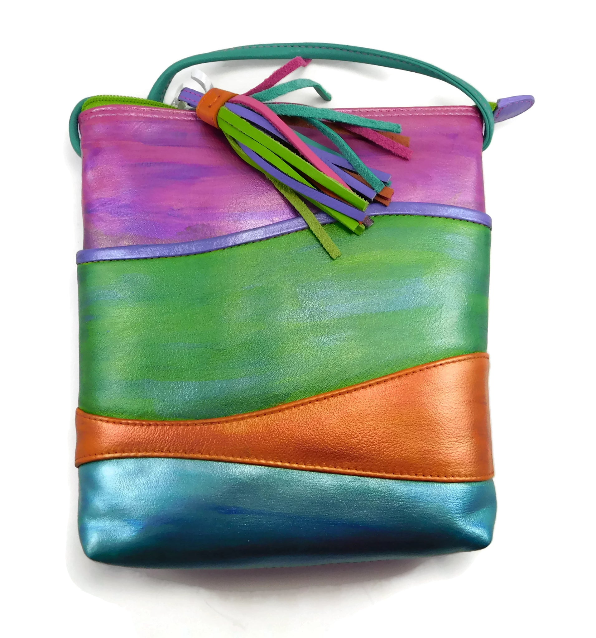 Handpainted leather tropical shimmer purse