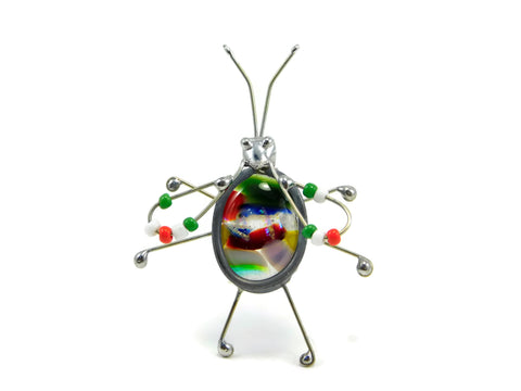 Multicolored One of a Kind Fused Glass Screen Bug Lynne Rae Eaton