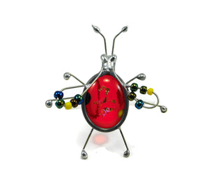 Red One of a Kind Fused Glass Screen Bug Lynne Rae Eaton