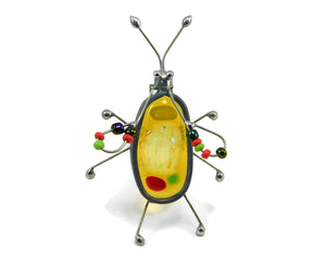 Yellow One of a Kind Fused Glass Screen Bug Lynne Rae Eaton