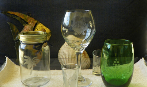 Etched Glassware Sip & Paint Class with Pat Johnson and Sally Schmett
