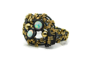 Hand wrapped cold fusion oxidized sterling silver, 14kt gold fill and opal ring